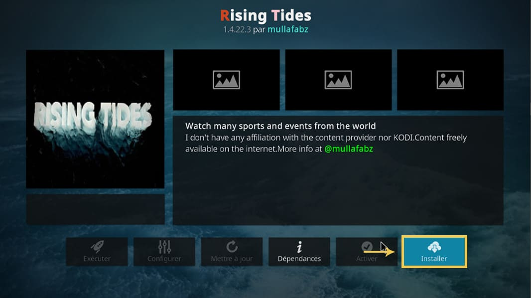 L'interface pour installer l'extension Rising Tides pour Kodi