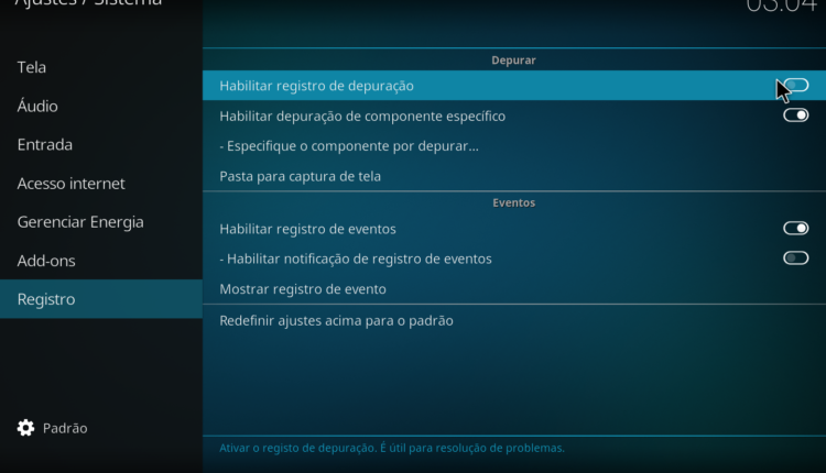 Como ligar o log de eventos do Kodi