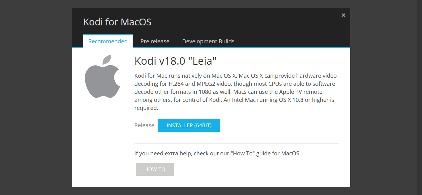 Download Kodi 18 Leia para MacOS