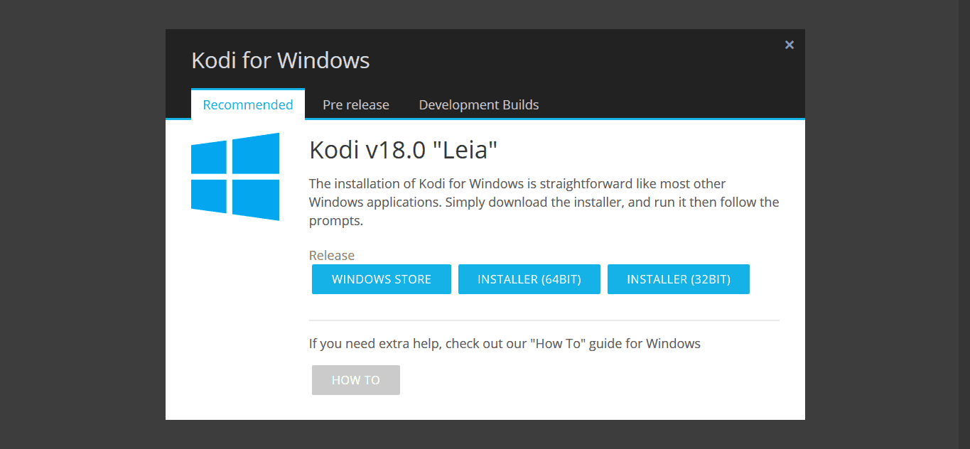 Download do Kodi 18 Leia para windows