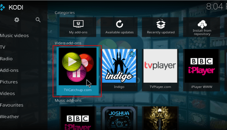 Indigo Addon on Kodi