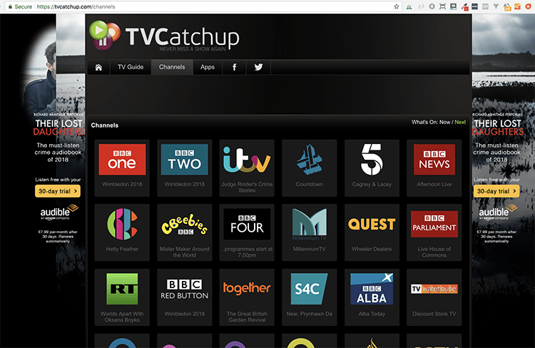 TVCatchup website uk tv channels
