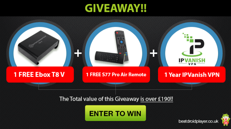 streaming giveaway android tv box + remote + ipvanish