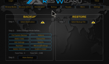 ares wizard kodi backups