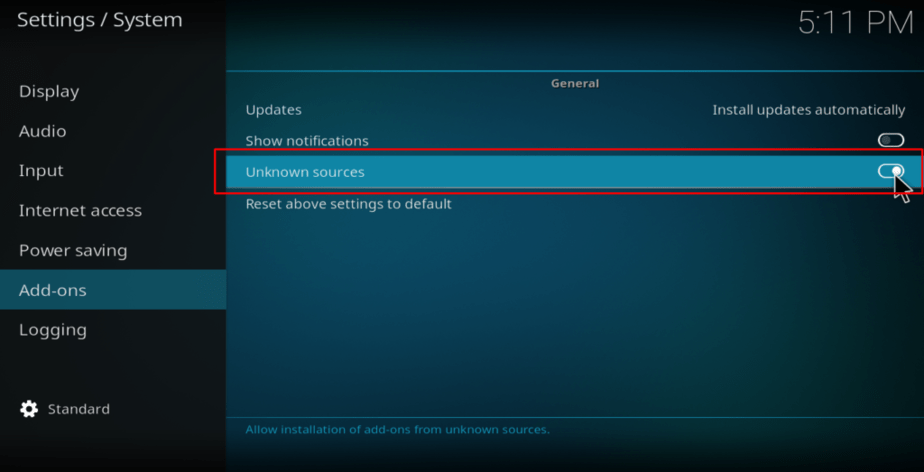 kodi addons unknown sources
