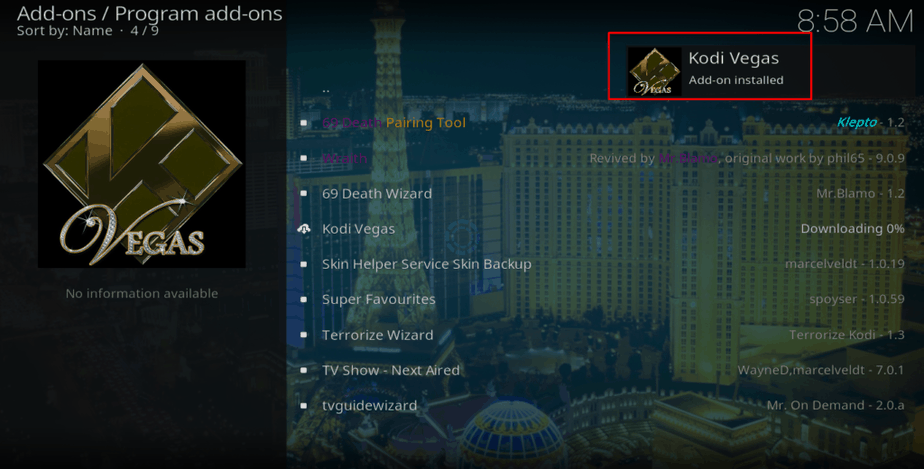 Kodi Vegas Addon installed