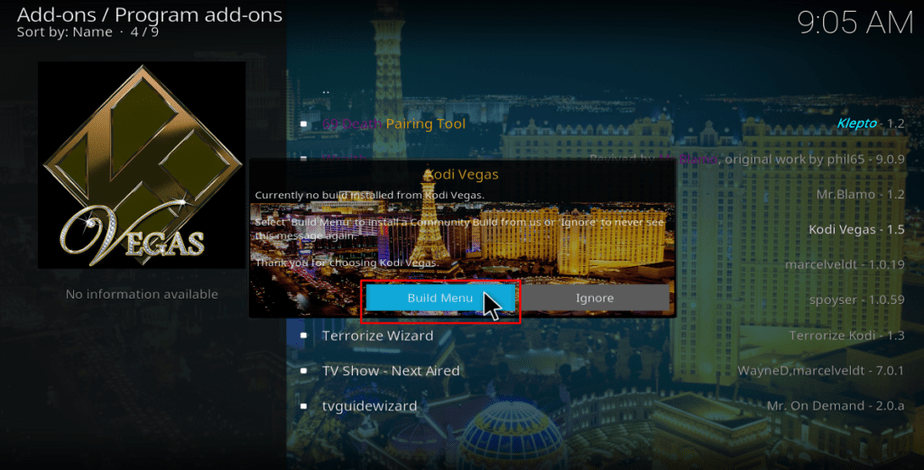 Kodi Vegas build menu