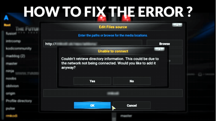 Unable to connect couldn't retrieve directory information