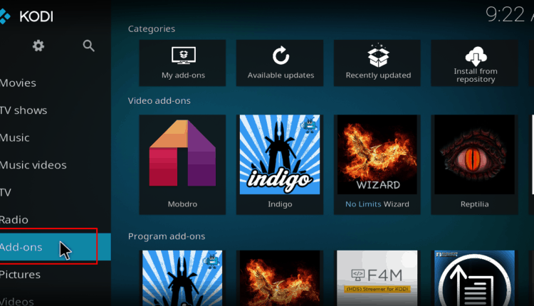 Kodi Addons screen