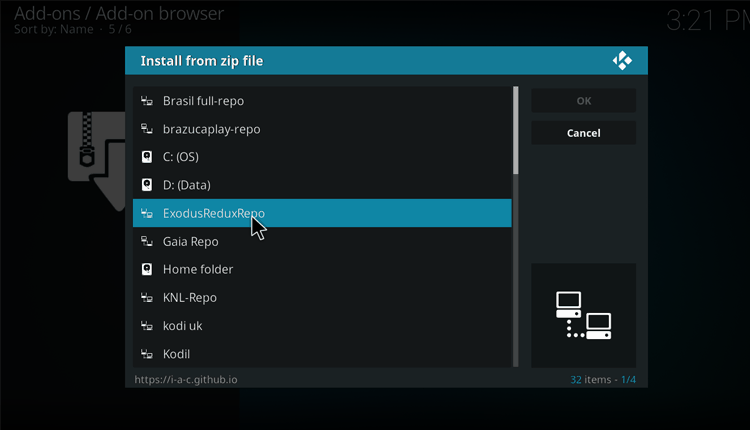 Select the name of the source on installing from a zip file on Kodi