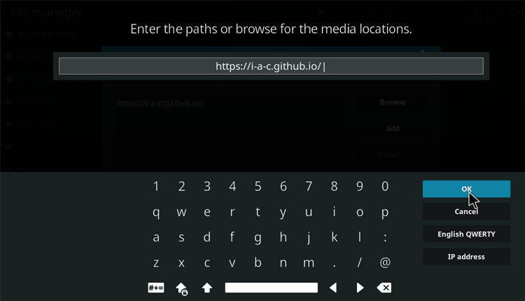 Enter the Exodus Redux Repo source URL on Kodi