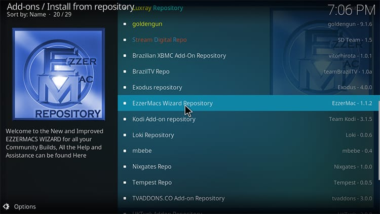 Select Ezzer Repository to install Death Star Kodi Addon