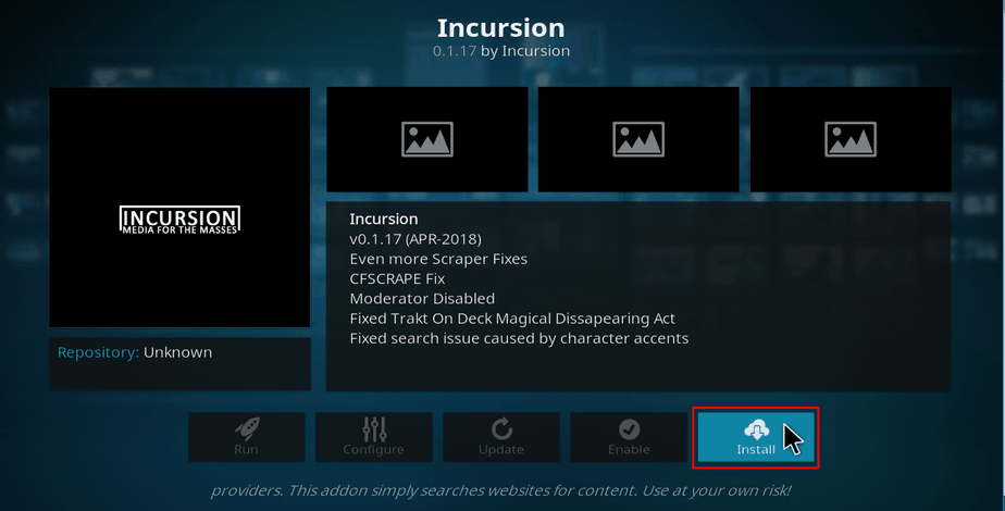 Install incursion addon on Kodi