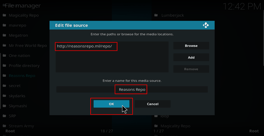 Adding the Reasons Repo Source on Kodi