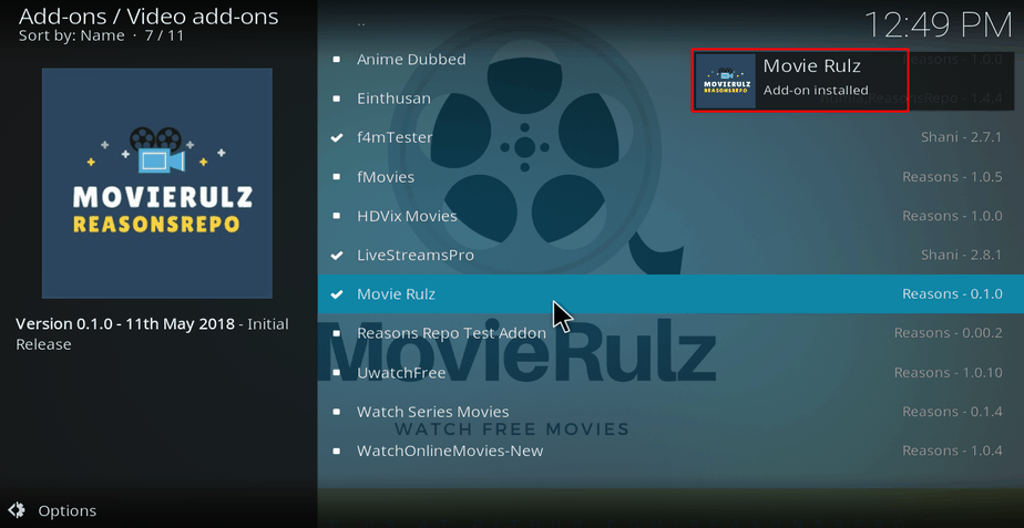 Wait for the message of Movie Rulz successful installed