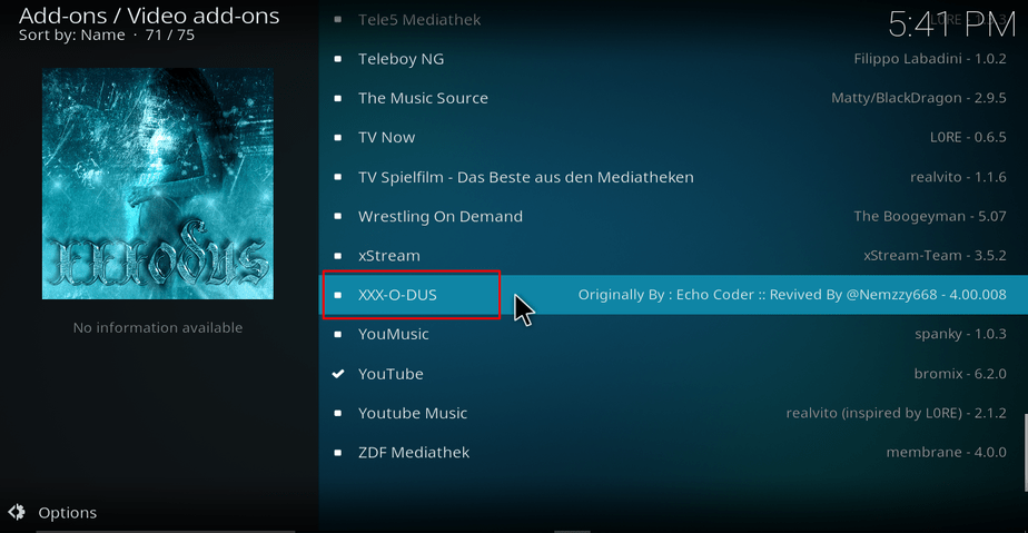 Selecting XXX-O-DUS addon on Kodi
