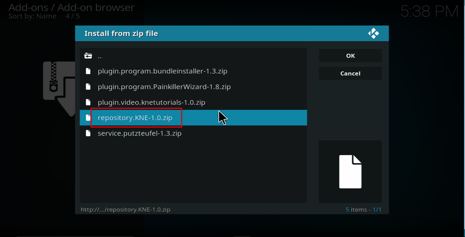 Selecting repository on Kodi