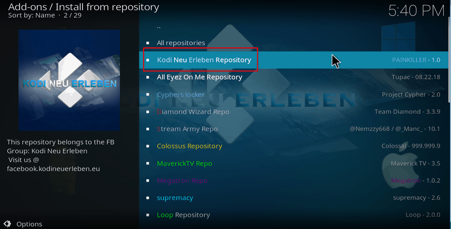 Selecting Neu Erleben repository on Kodi