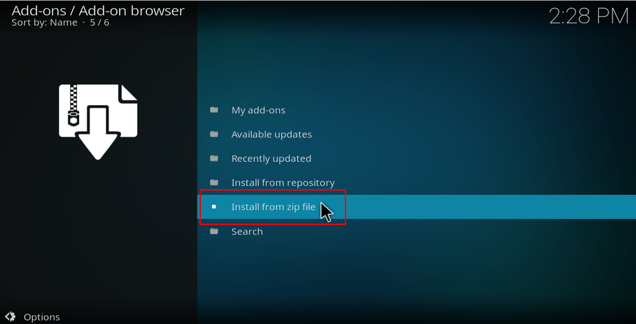 Select install from a zip file on Kodi