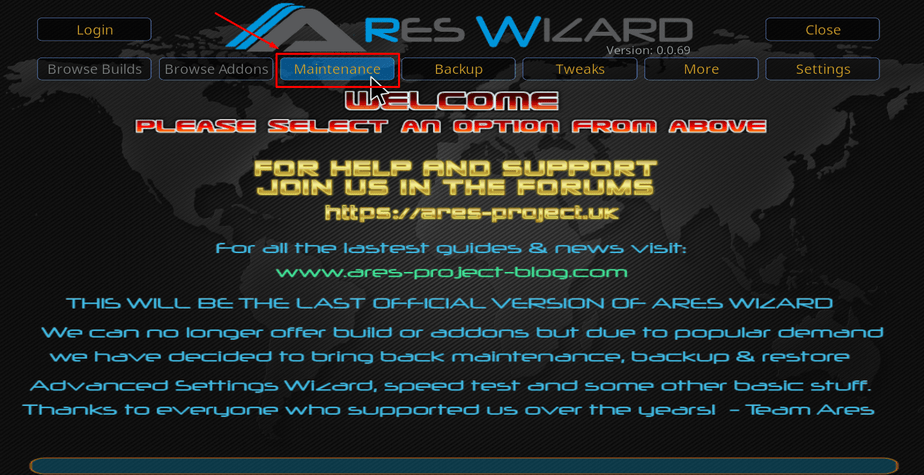 Select maintenance on Ares Wizard to take the first steps to get rid of the check the log for more information error on Kodi