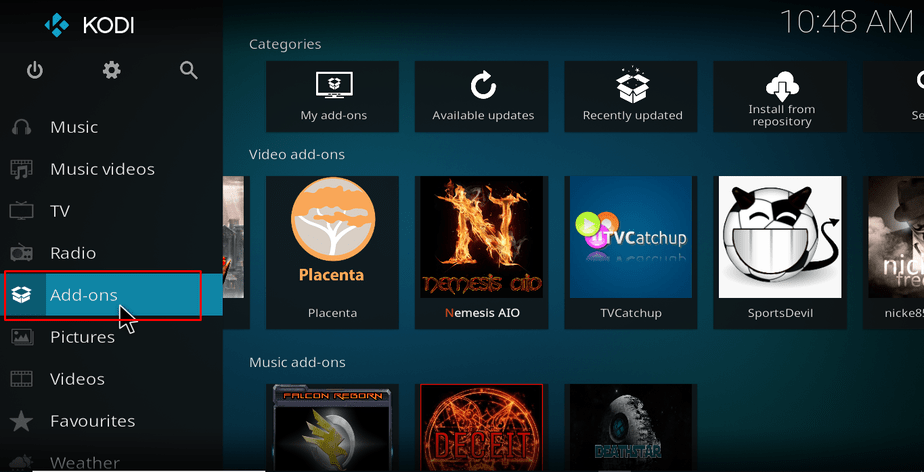 Select add-ons from the left menu on Kodi
