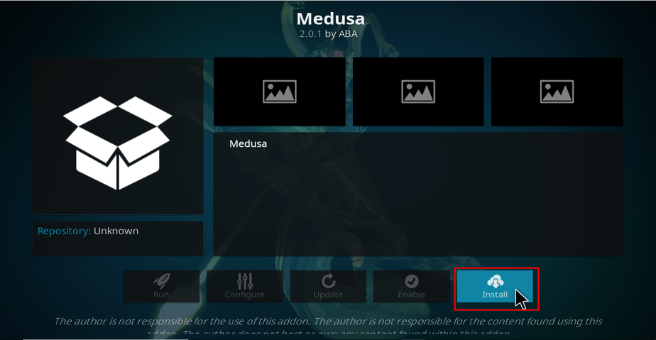 Hit Install to install Medusa Addon on Kodi
