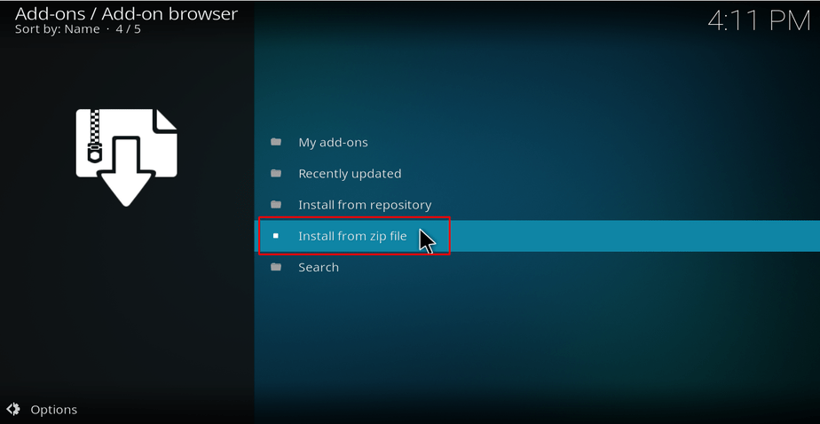 Install from zip file on Kodi