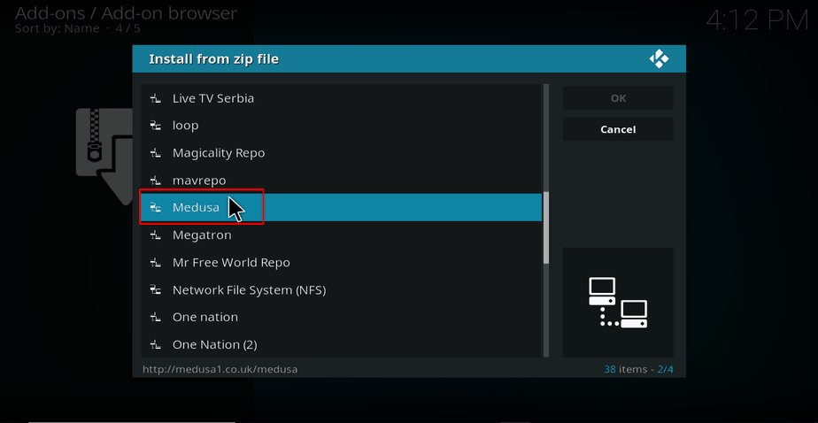 Select Medusa zip file on Kodi