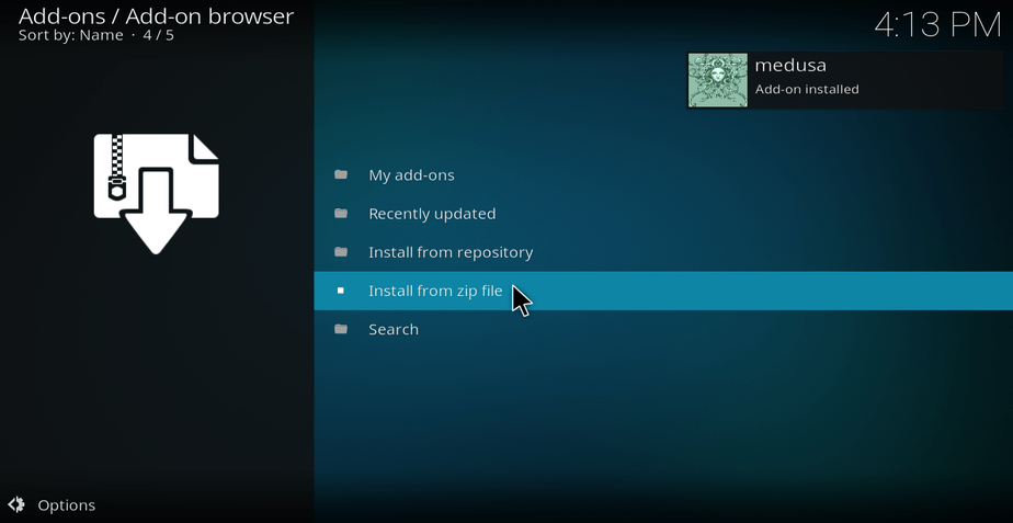 Medusa Repo Successful install message on Kodi