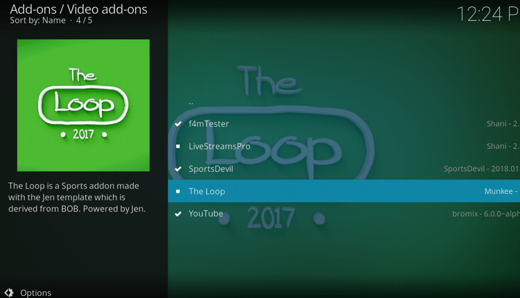Install The Loop Addon on Kodi