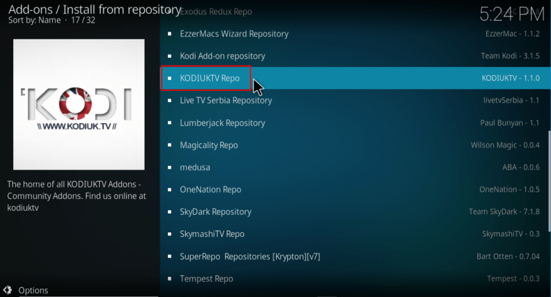 Select KodiUkTv repository