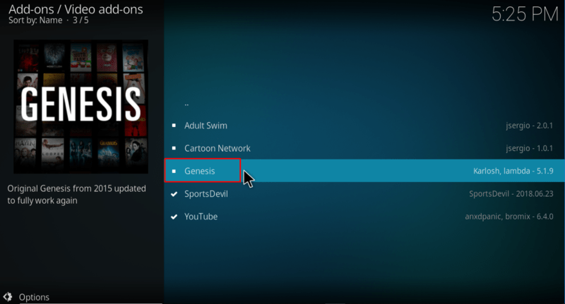 Select Genesis Addon to install on Kodi