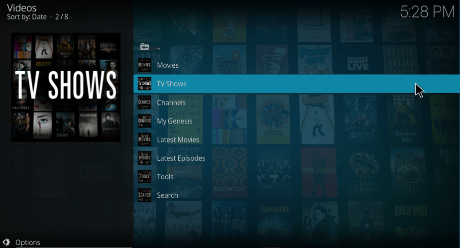 View TV Shows category on Genesis Kodi Addon
