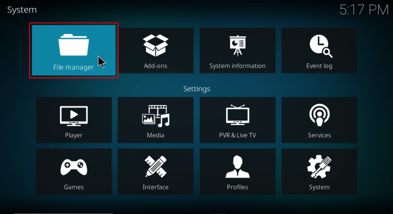 Got o File manager on Kodi