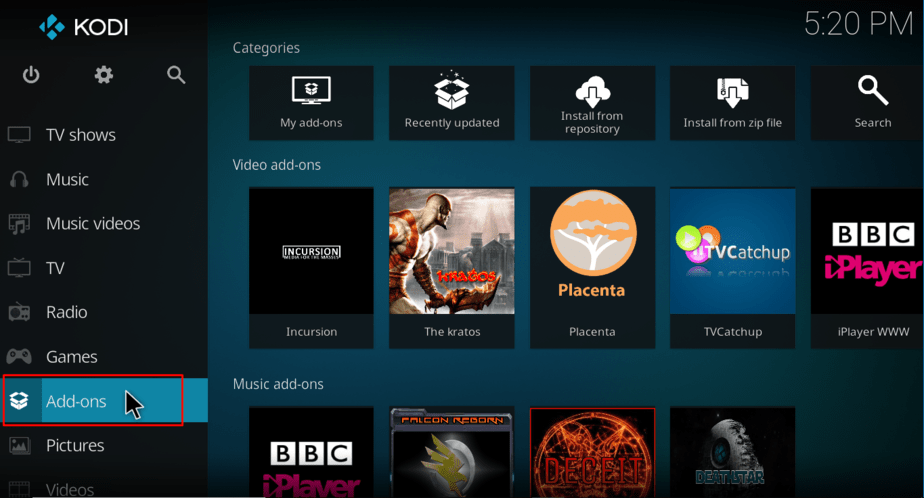 On the Kodi's main screen go to Add-ons on the left menu