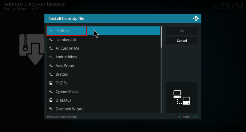 Select the repo's file on Kodi