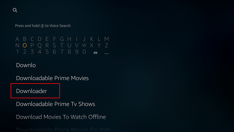 On the Firestick's main menu, select the Search option and type Downloader