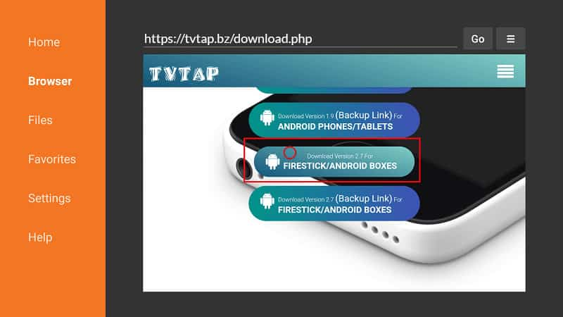 Scroll down to TVTap Firestick