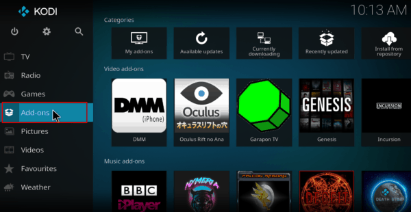 Select Add-ons on the left Kodi menu