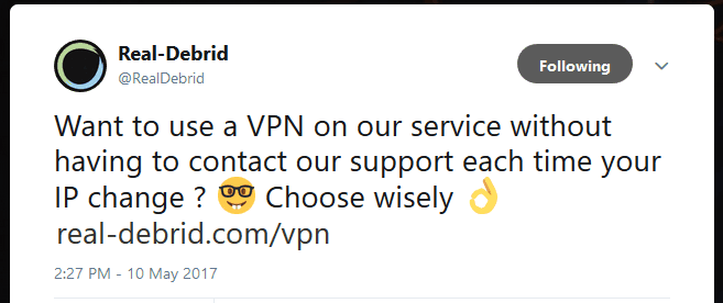 Real Debrid advice to users to chose a VPN wisely