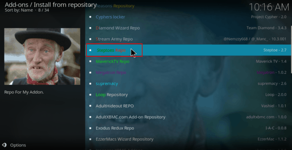 Select the Steptoes Repo on Kodi
