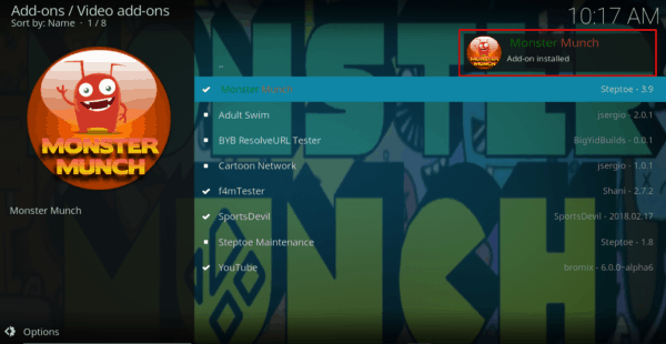 Wait for Monster Munch Addon install confirmation on Kodi