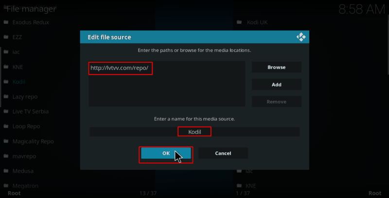 Enter source url on Kodi