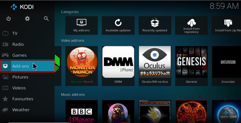 On the main screen of Kodi scroll down an select Addons from the left menu