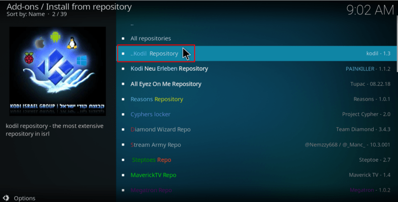 Select the Kodil Kodi Repository