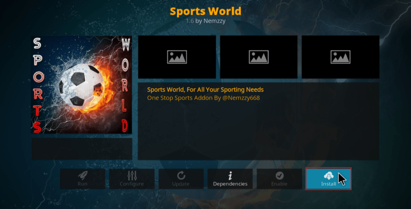 Click to Install Sports World Kodi Addon