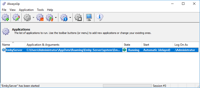 Check Emby state on AlwaysUp for Windows
