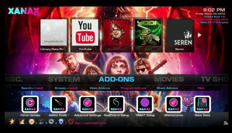 The Xanax build screen on Kodi