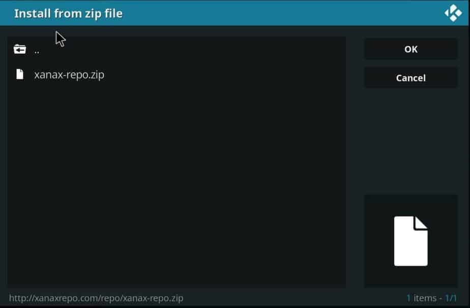 Install from a zip file on Kodi