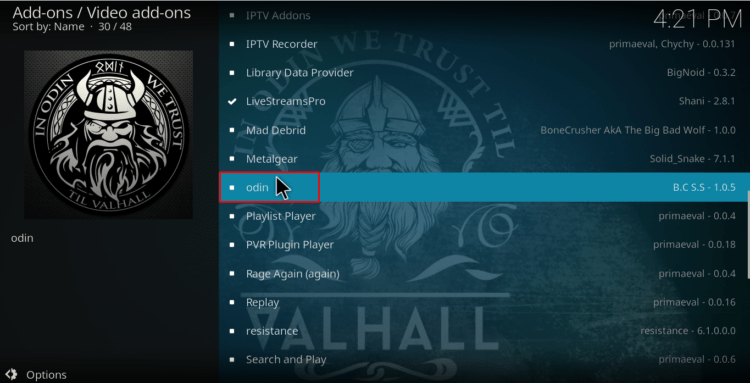 Click on Odin to Install on Kodi
